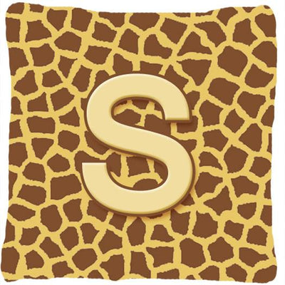 Buy this Monogram Initial S Giraffe Decorative   Canvas Fabric Pillow CJ1025