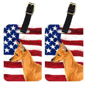 Buy this Pair of USA American Flag with Min Pin Luggage Tags SS4222BT