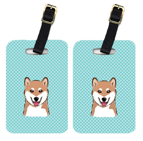 Buy this Pair of Checkerboard Blue Shiba Inu Luggage Tags BB1163BT