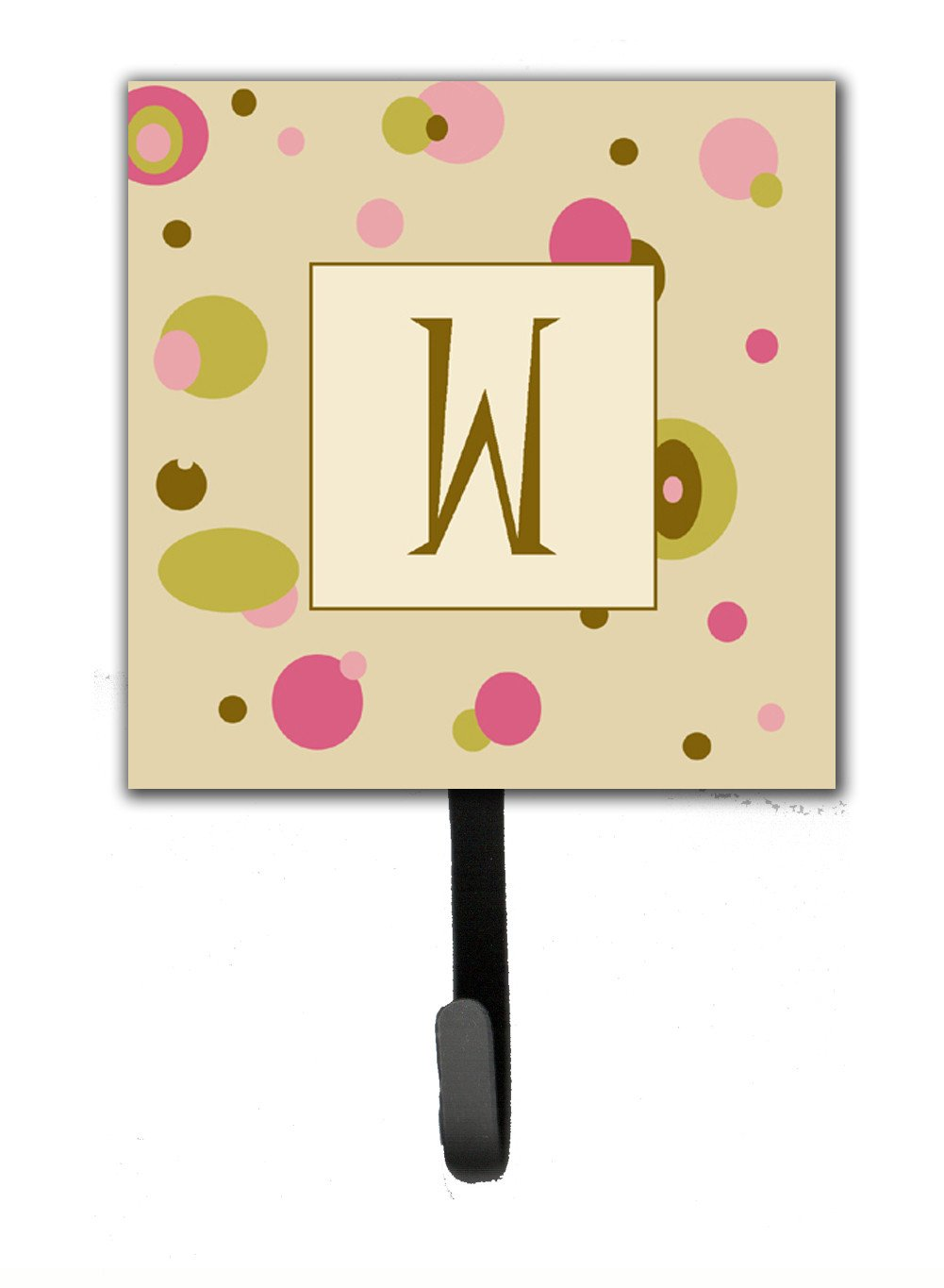 Letter W Initial Monogram - Tan Dots Leash Holder or Key Hook by Caroline's Treasures