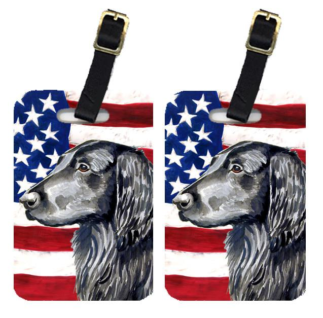 Buy this Pair of USA American Flag with Flat Coated Retriever Luggage Tags LH9021BT
