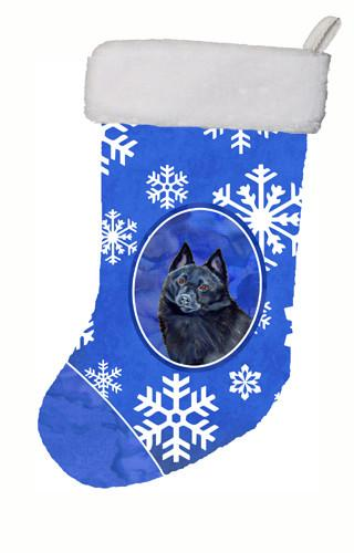 Buy this Schipperke Winter Snowflakes Snowflakes Holiday Christmas  Stocking LH9294