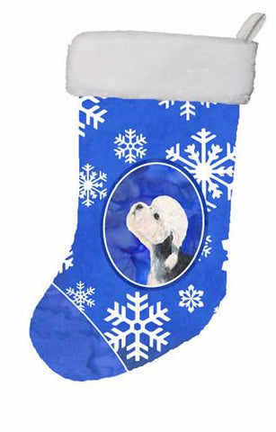 Buy this Dandie Dinmont Terrier Winter Snowflakes Christmas Stocking SS4641