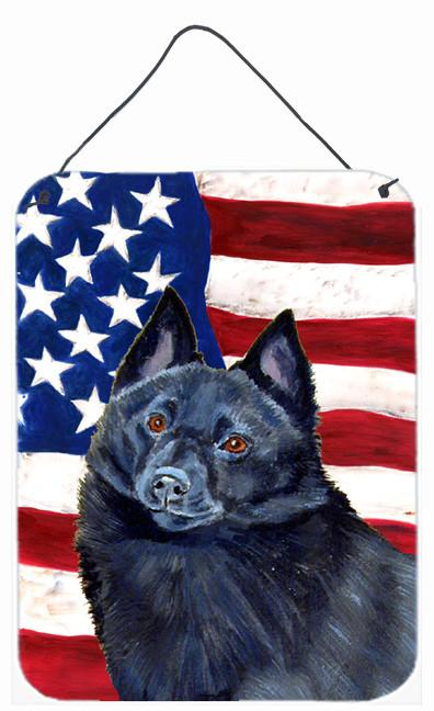 USA American Flag with Schipperke Aluminium Metal Wall or Door Hanging Prints by Caroline's Treasures