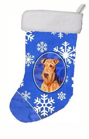 Buy this Airedale Winter Snowflakes Snowflakes Holiday Christmas  Stocking