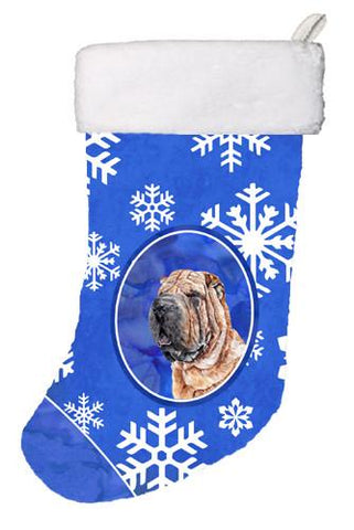 Buy this Shar Pei Winter Snowflakes Christmas Stocking SC9767-CS