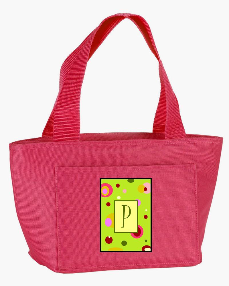 Letter P Monogram - Lime Green Zippered Insulated School Washable and Stylish Lunch Bag Cooler CJ1010-P-PK-8808 by Caroline's Treasures