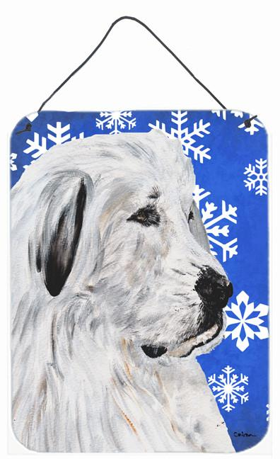 Great Pyrenees Winter Snowflakes Wall or Door Hanging Prints SC9786DS1216 by Caroline's Treasures