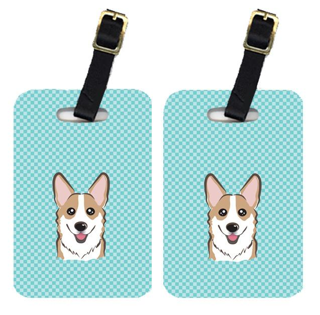 Pair of Checkerboard Blue Corgi Luggage Tags BB1191BT by Caroline's Treasures