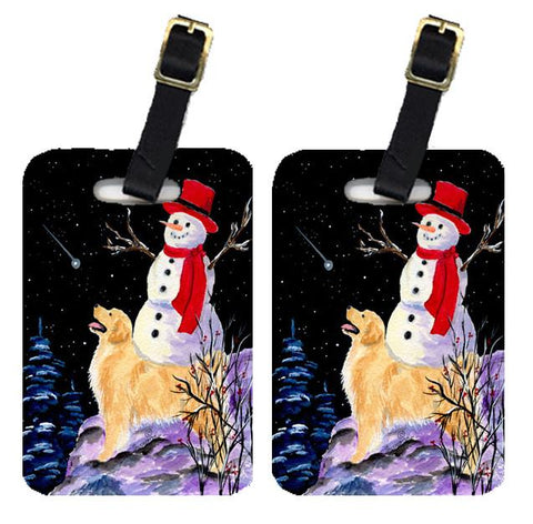 Buy this Pair of 2 Golden Retriever with Snowman in red Hat Luggage Tags