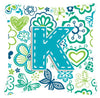 Letter K Flowers and Butterflies Teal Blue Canvas Fabric Decorative Pillow CJ2006-KPW1414 by Caroline's Treasures