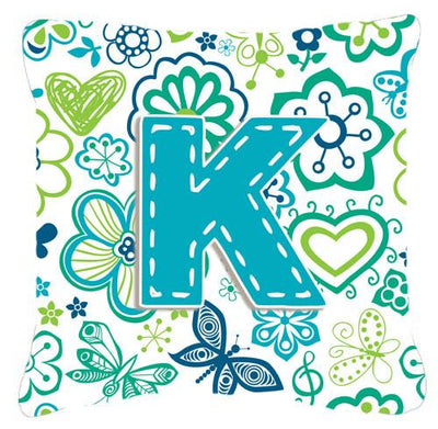 Buy this Letter K Flowers and Butterflies Teal Blue Canvas Fabric Decorative Pillow CJ2006-KPW1414