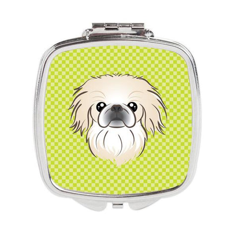 Buy this Checkerboard Lime Green Pekingese Compact Mirror BB1283SCM