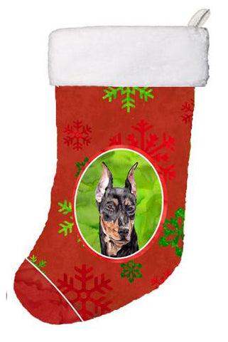 Buy this German Pinscher Red Snowflakes Holiday Christmas Stocking SC9764-CS