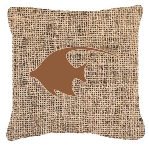 Fish - Angel Fish Burlap and Brown   Canvas Fabric Decorative Pillow BB1019 by Caroline's Treasures