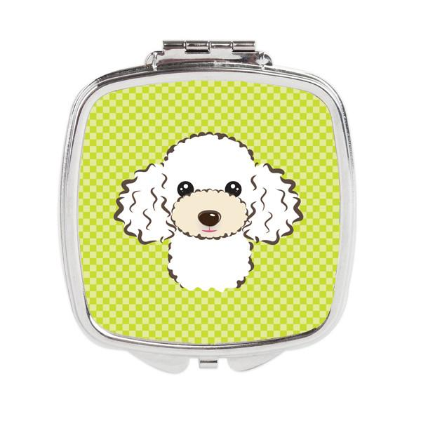 Checkerboard Lime Green White Poodle Compact Mirror BB1319SCM by Caroline's Treasures