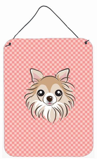 Checkerboard Pink Chihuahua Wall or Door Hanging Prints BB1251DS1216 by Caroline's Treasures
