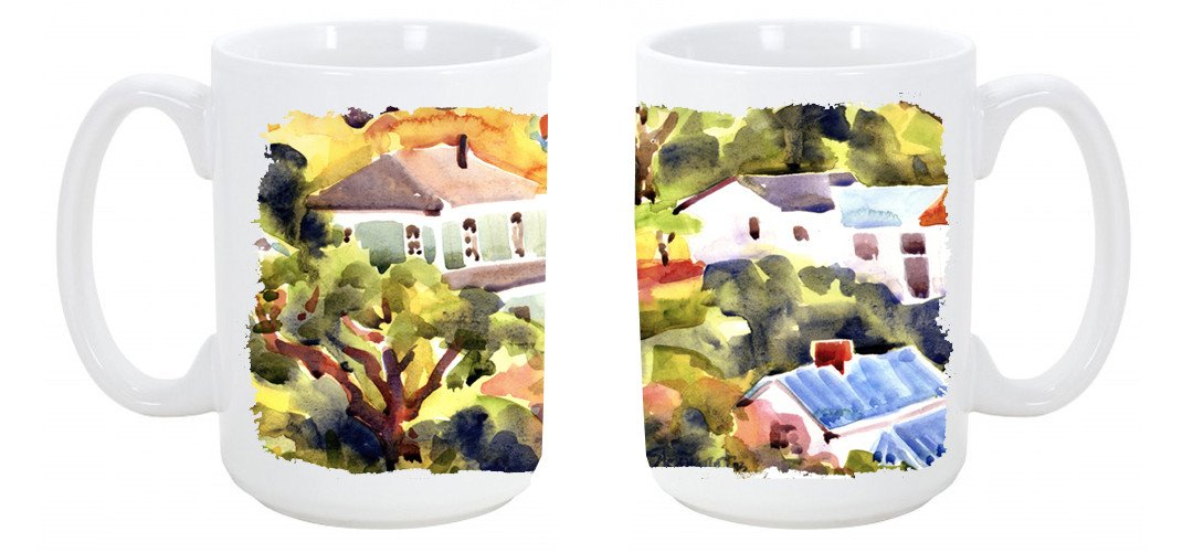 Houses Dishwasher Safe Microwavable Ceramic Coffee Mug 15 ounce 6046CM15 by Caroline's Treasures