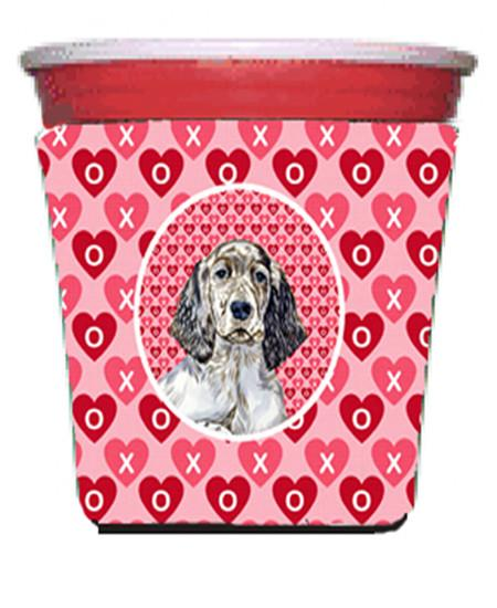 English Setter Valentine's Love and Hearts Red Solo Cup Beverage Insulator Hugger by Caroline's Treasures