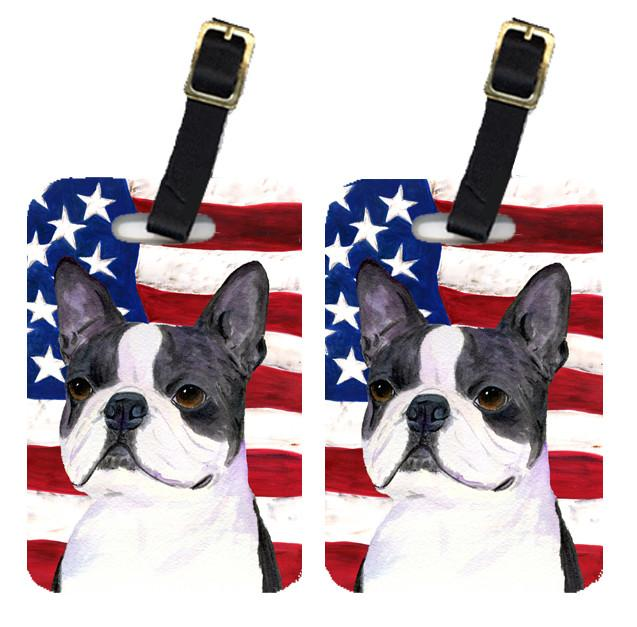Pair of USA American Flag with Boston Terrier Luggage Tags SS4021BT by Caroline's Treasures