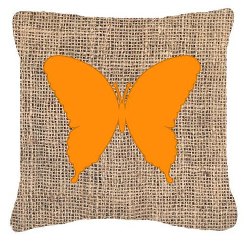 Buy this Butterfly Burlap and Orange   Canvas Fabric Decorative Pillow BB1048