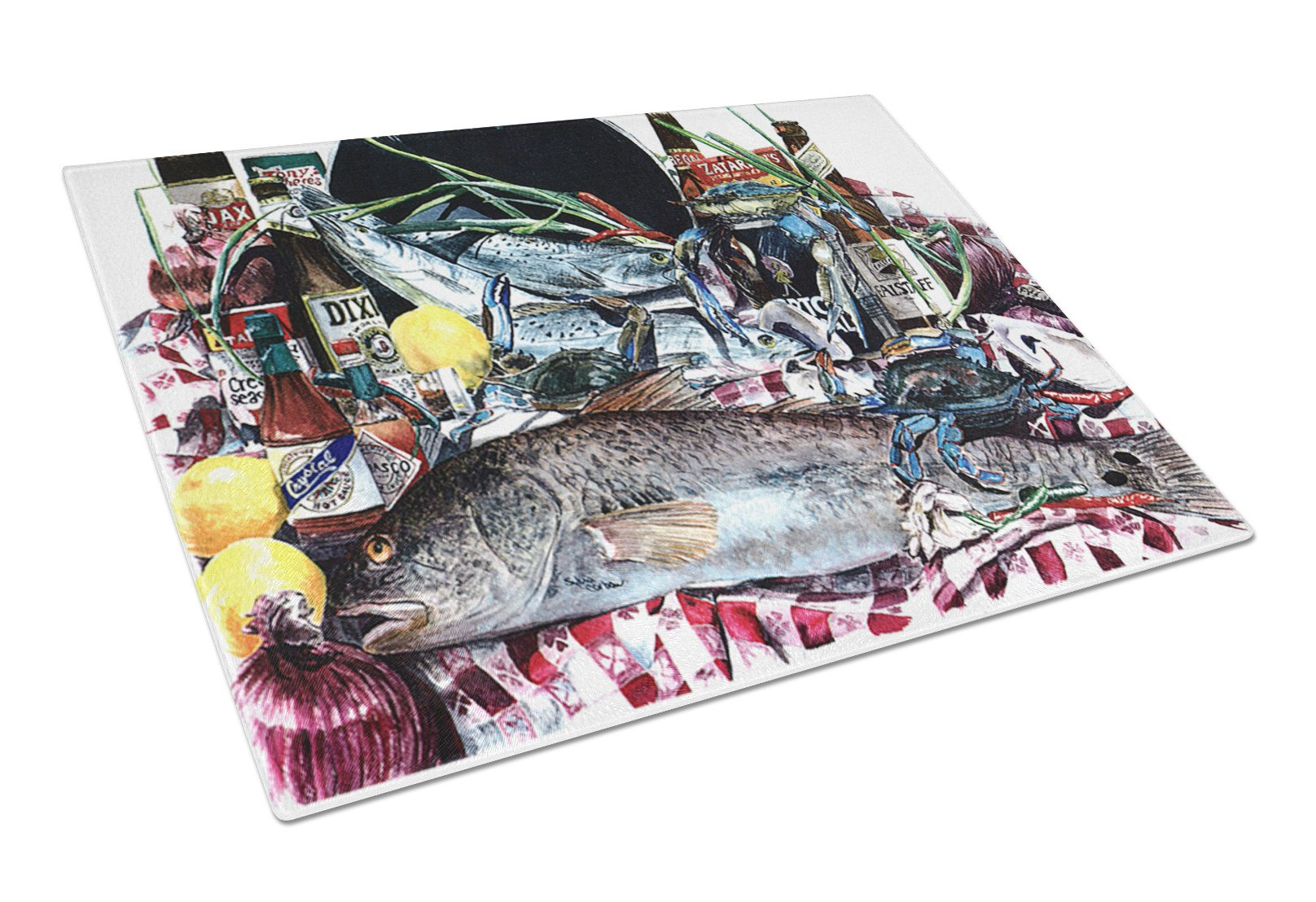 Fish and Beers from New Orleans Glass Cutting Board Large by Caroline's Treasures