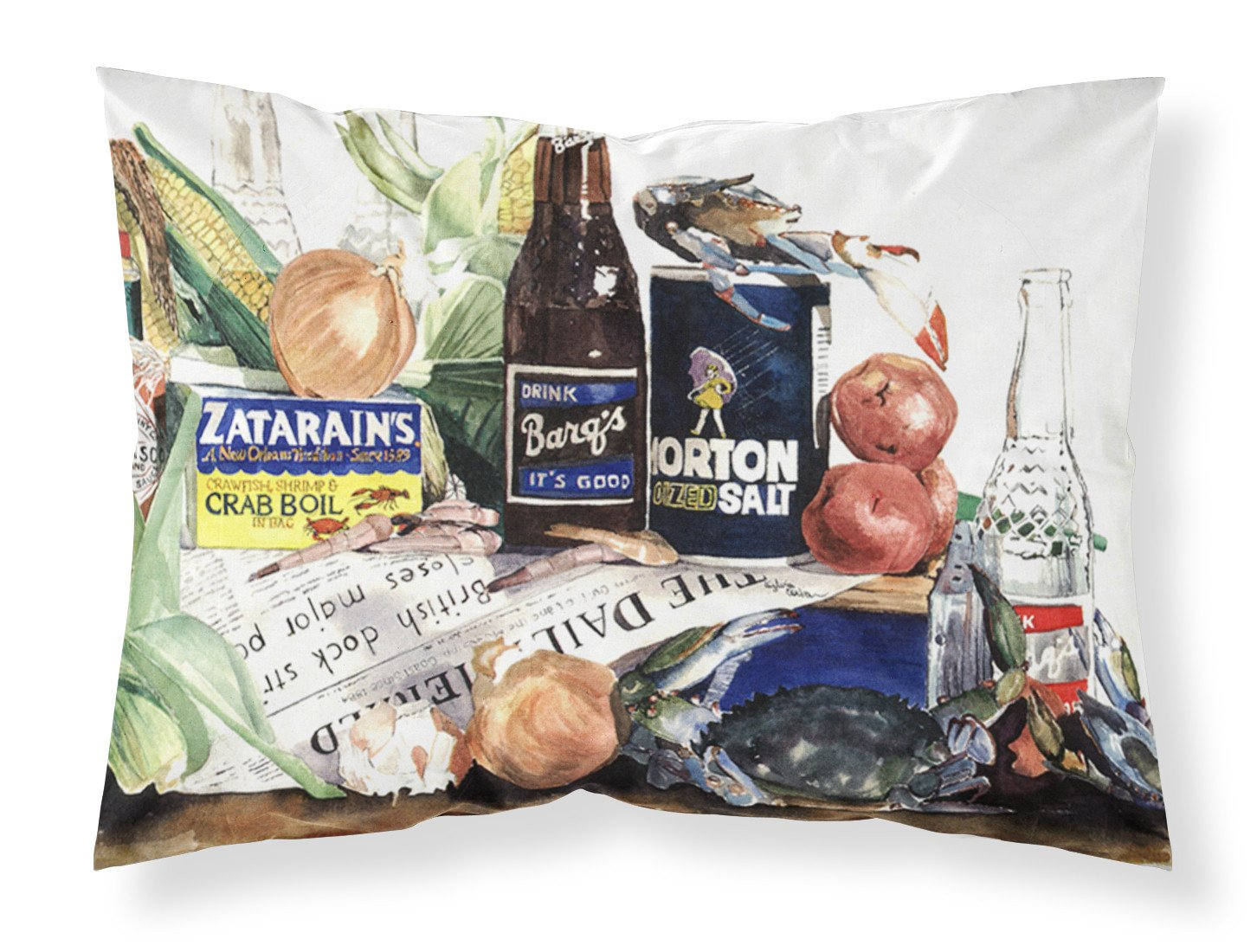 Barq's, Crabs, and spices Moisture wicking Fabric standard pillowcase by Caroline's Treasures