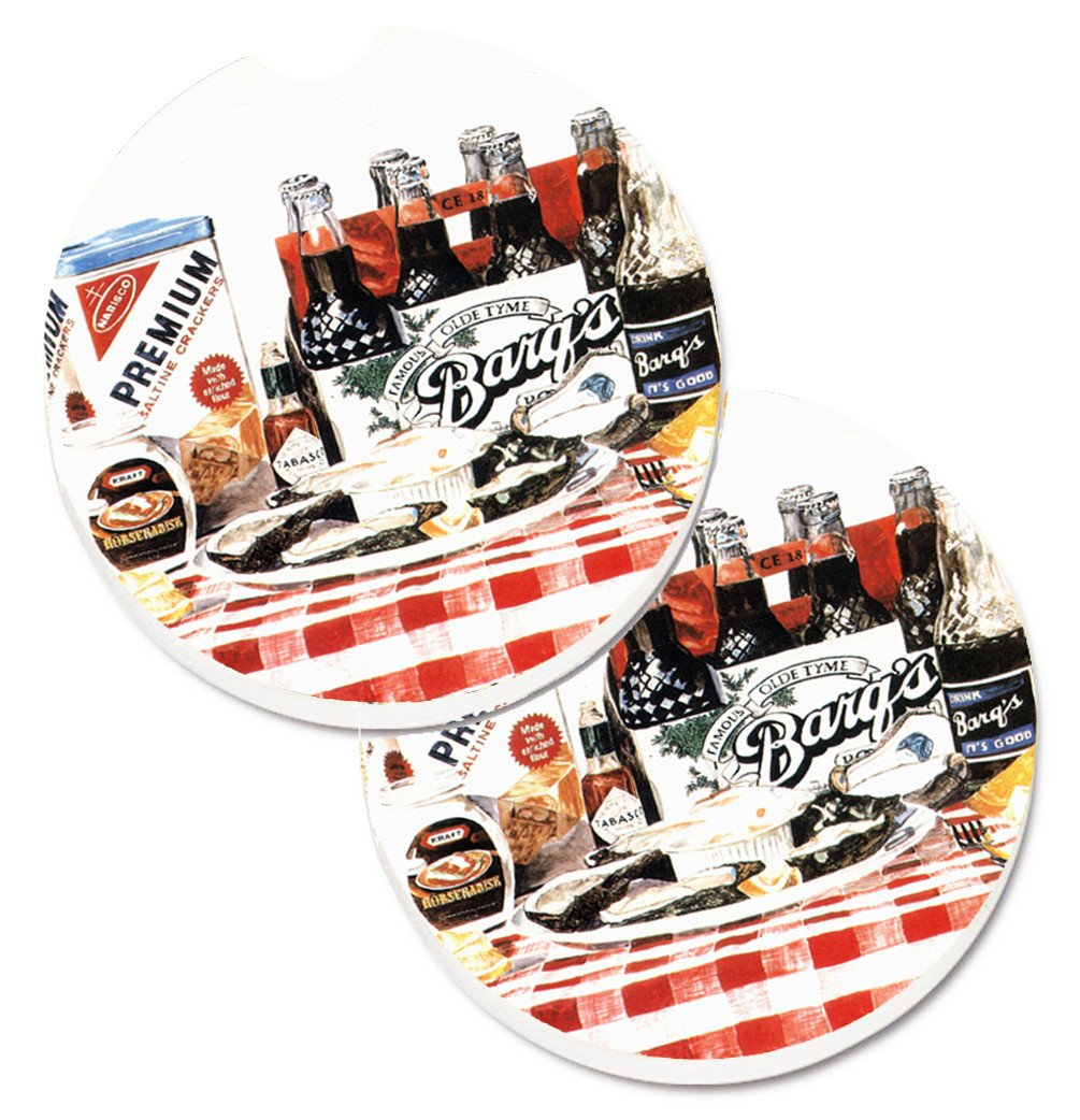 Barq's oysters Set of 2 Cup Holder Car Coasters 1004CARC by Caroline's Treasures