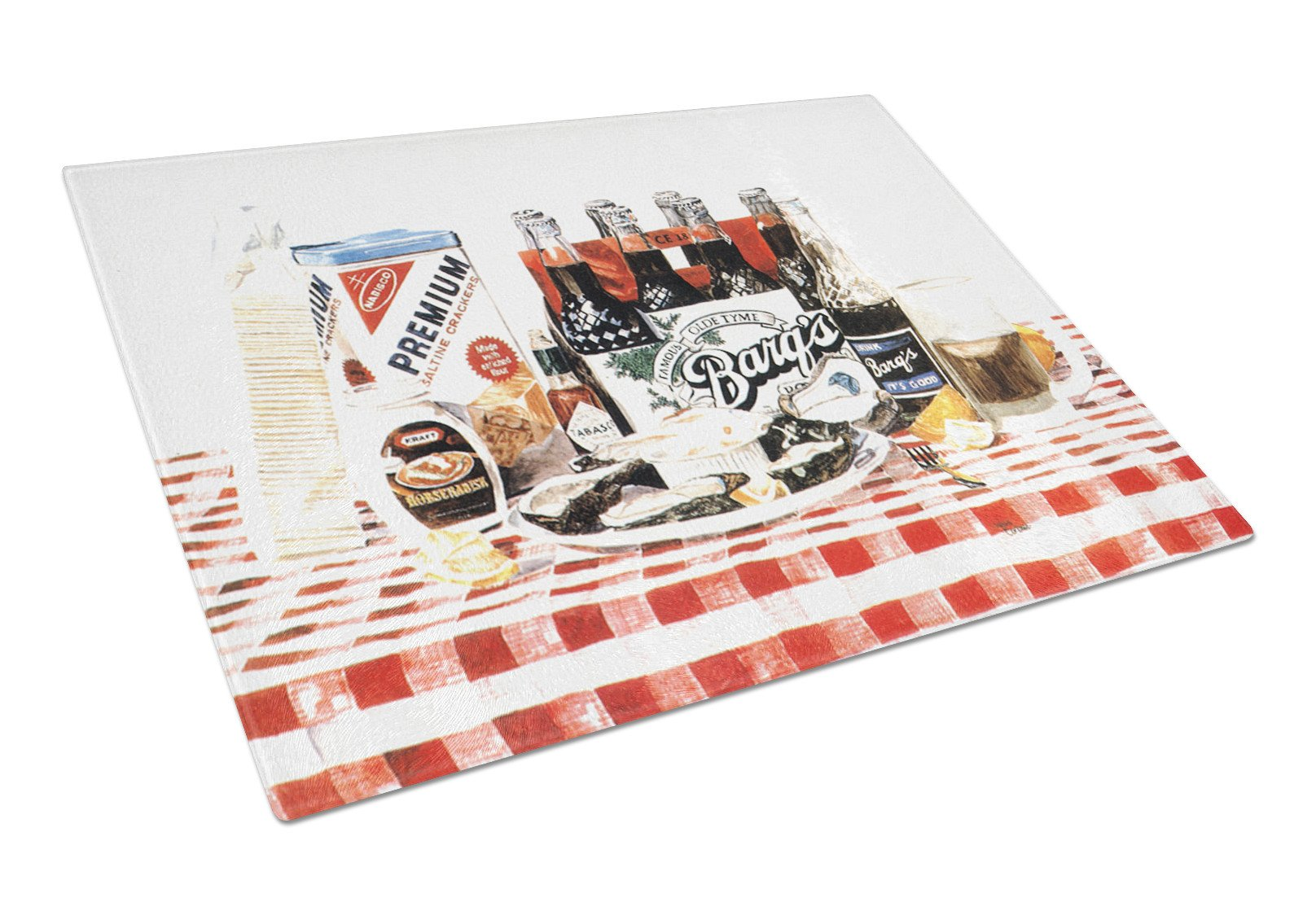 Barq's oysters Glass Cutting Board Large by Caroline's Treasures