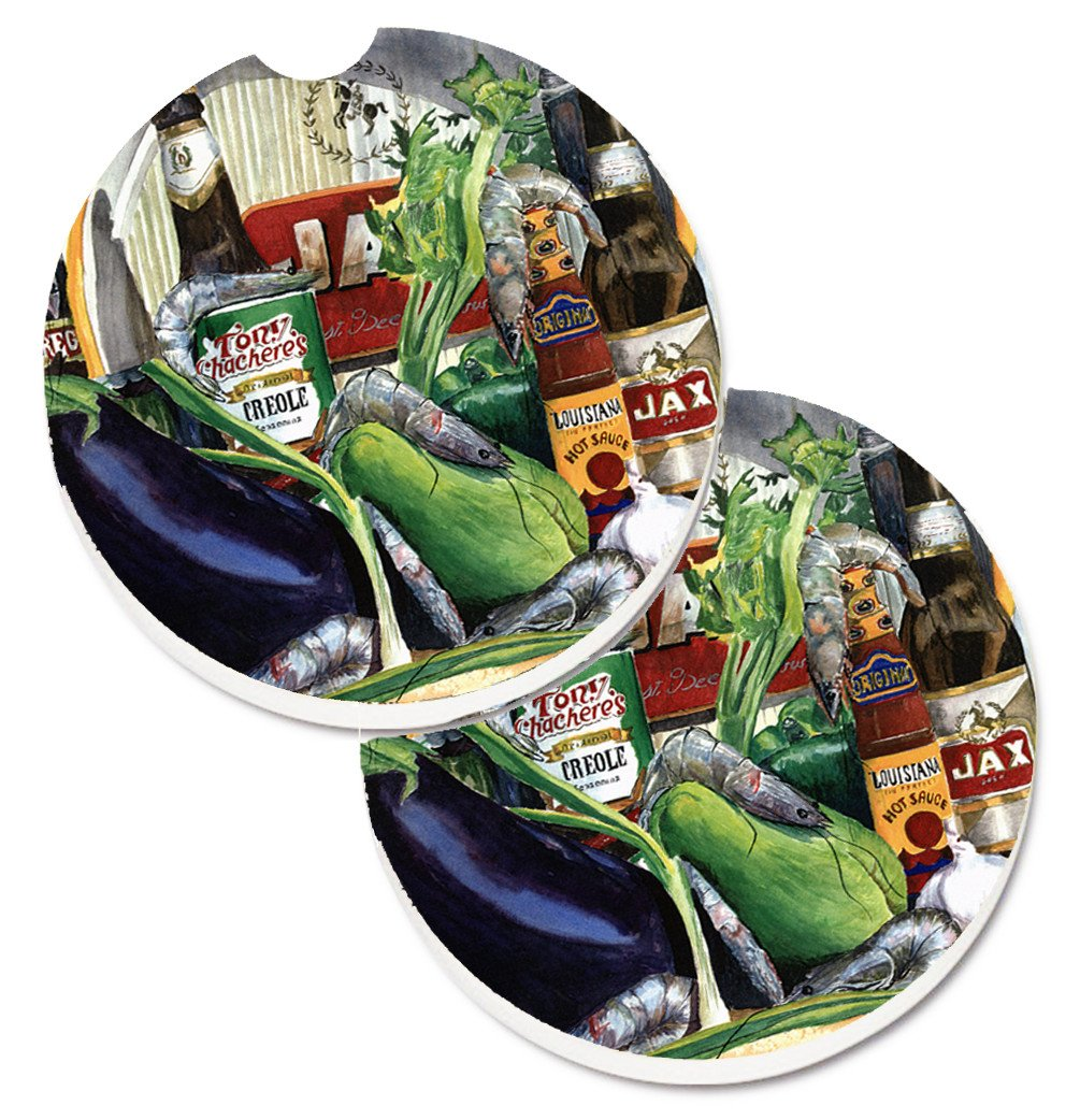Eggplant and New Orleans Beers  Set of 2 Cup Holder Car Coasters 1007CARC by Caroline's Treasures