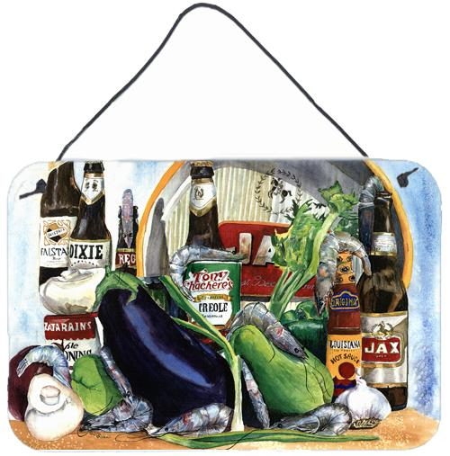 Buy this Eggplant and New Orleans Beers  Aluminium Metal Wall or Door Hanging Prints