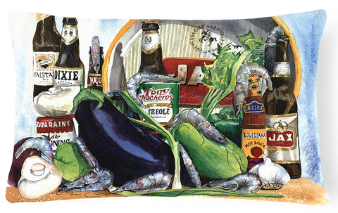 Buy this Eggplant and New Orleans Beers    Canvas Fabric Decorative Pillow