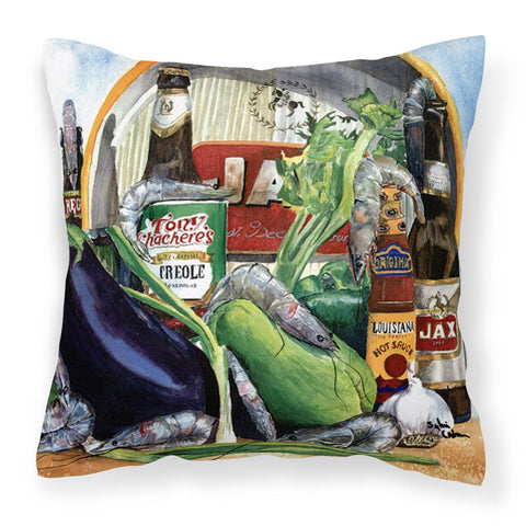 Eggplant and New Orleans Beers Decorative   Canvas Fabric Pillow