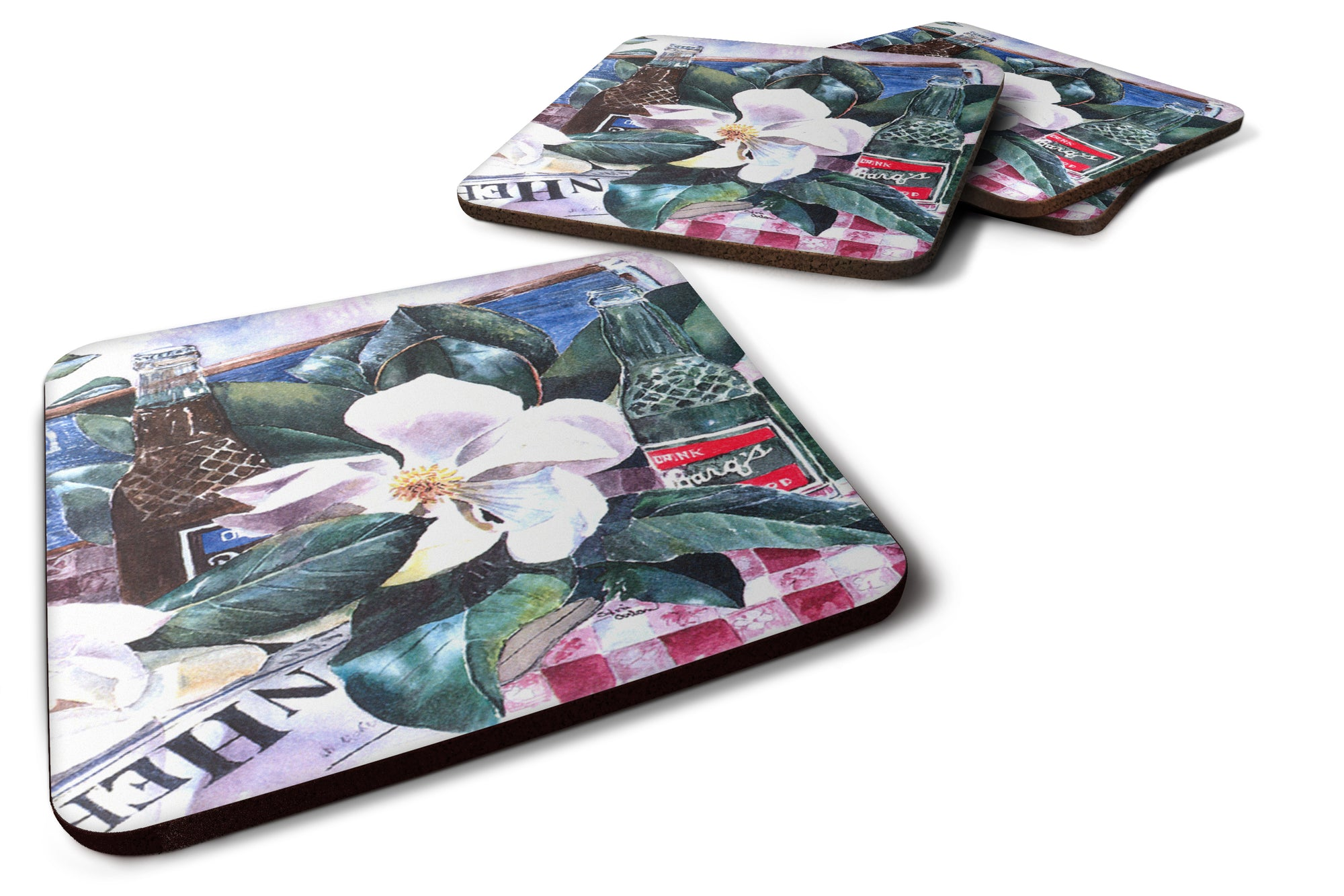 Buy this Set of 4 Barq's and Magnolia Foam Coasters