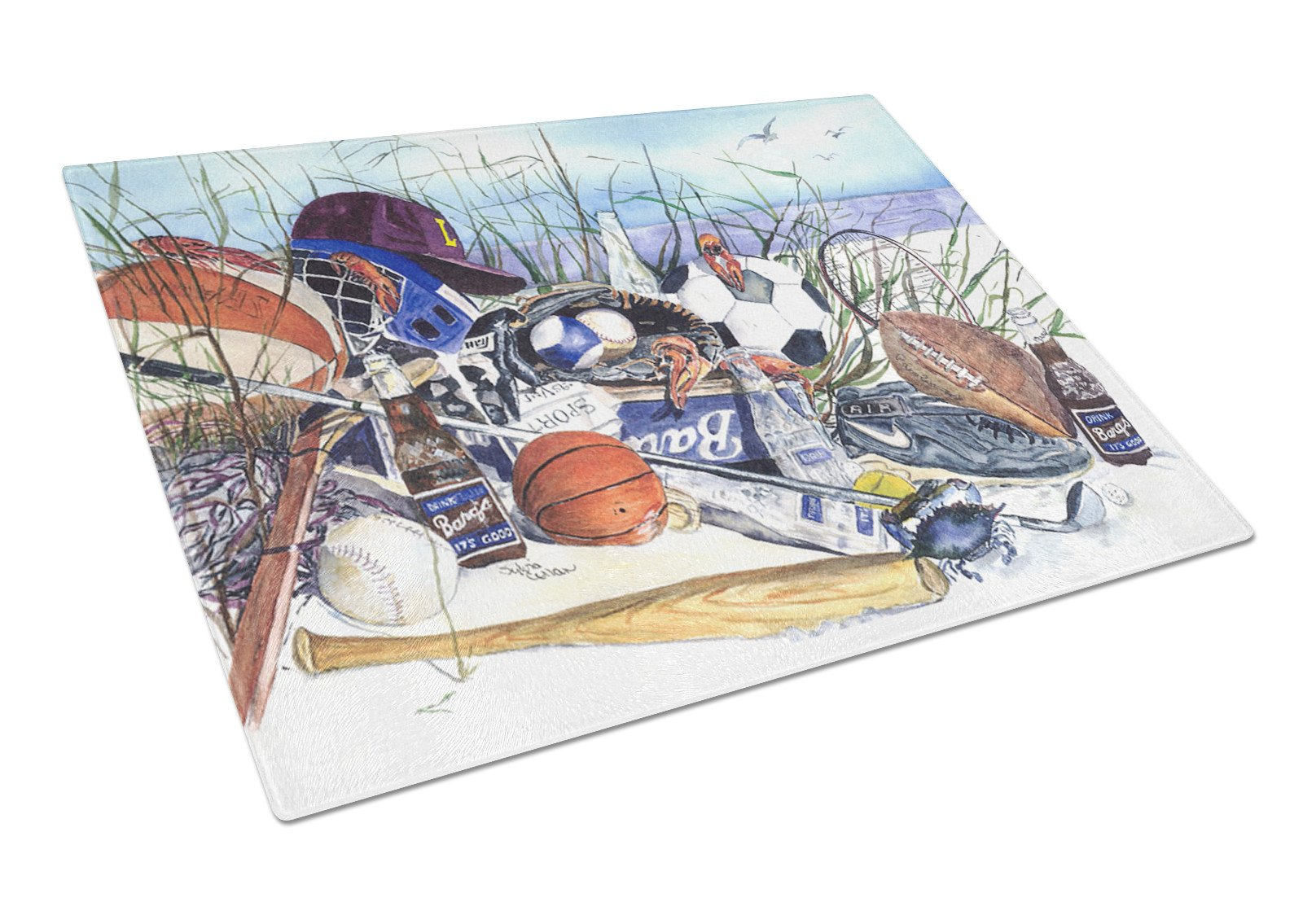 Sports on the Beach Glass Cutting Board Large by Caroline's Treasures