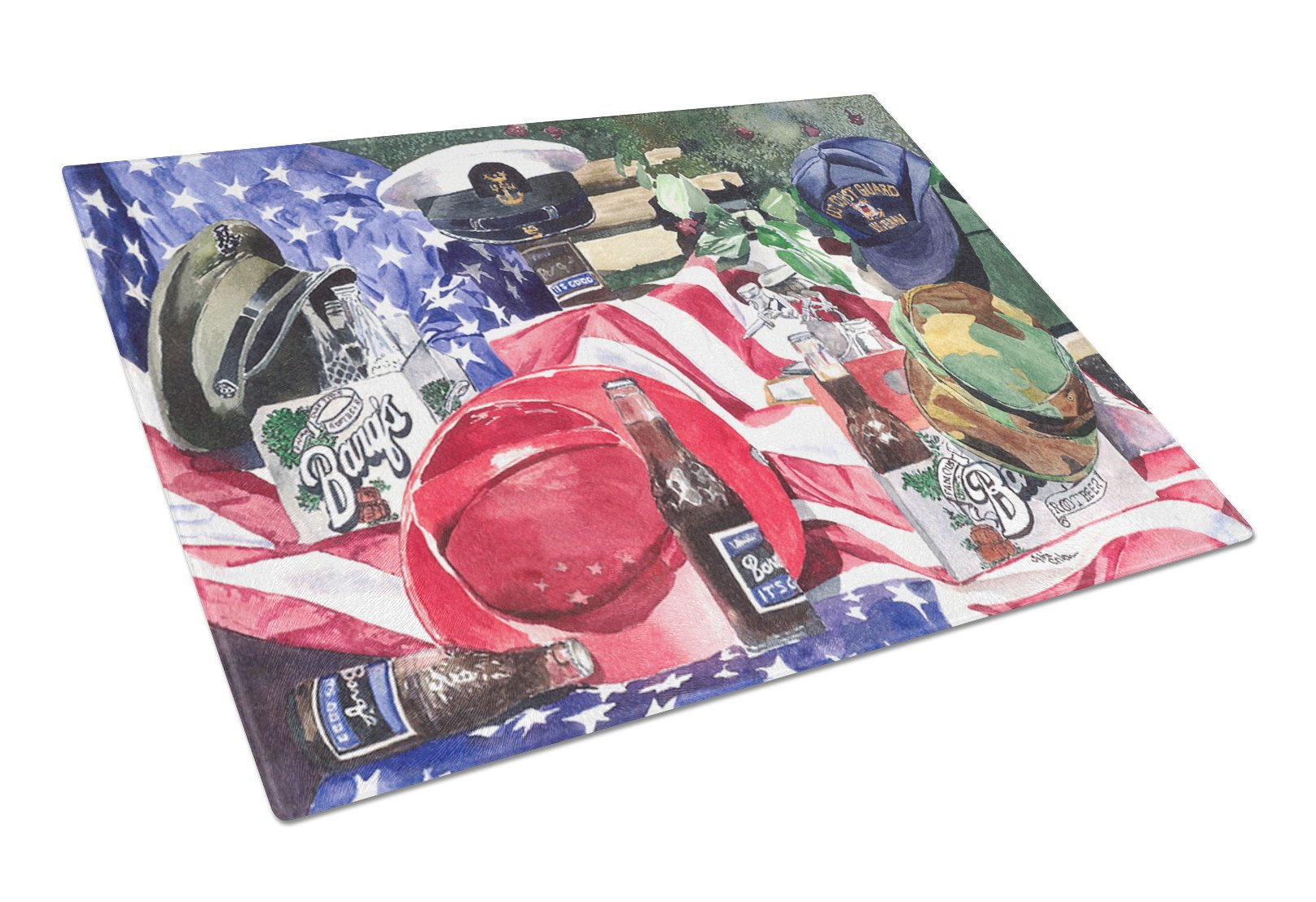Barq's and Armed Forces Glass Cutting Board Large by Caroline's Treasures