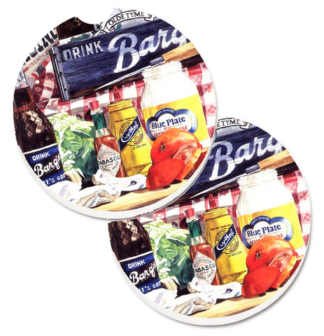 Buy this Blue Plate Mayonaise, Barq's a tomato sandwich Set of 2 Cup Holder Car Coasters 1013CARC