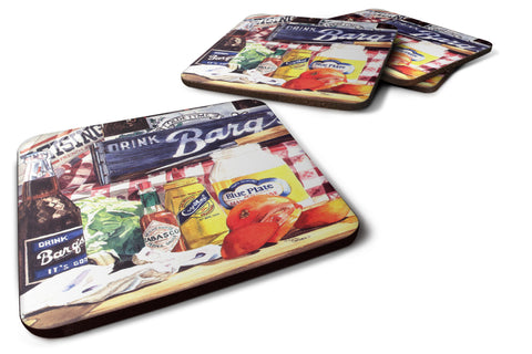 Buy this Set of 4 Blue Plate Mayonaise, Barq's and a tomato sandwich Foam Coasters
