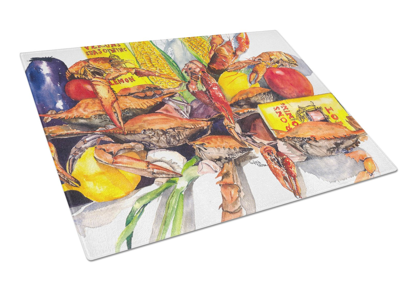 Veron's and Crabs Glass Cutting Board Large by Caroline's Treasures