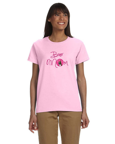 Buy this Pink Brindle Cropped Eared Boxer Mom T-shirt Ladies Cut Short Sleeve 2XL