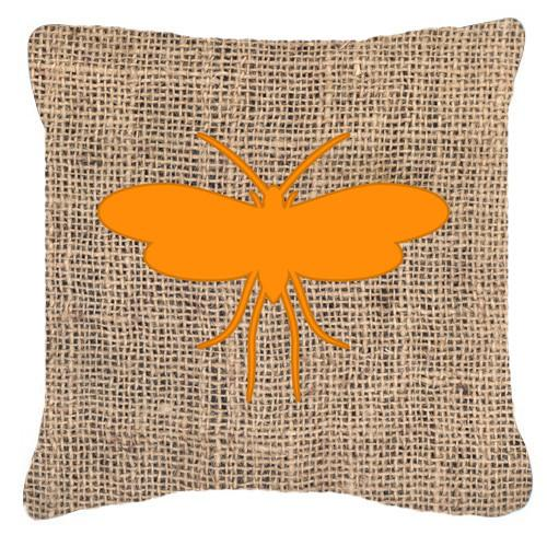 Moth Burlap and Orange   Canvas Fabric Decorative Pillow BB1058 by Caroline's Treasures
