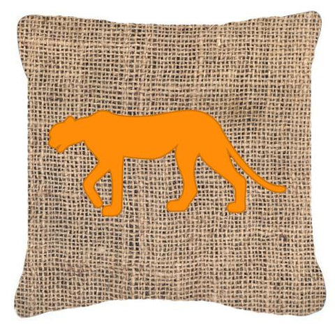 Buy this Leopard Burlap and Orange   Canvas Fabric Decorative Pillow BB1004