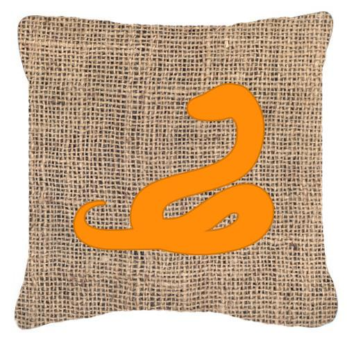 Buy this Snake Burlap and Orange   Canvas Fabric Decorative Pillow BB1124