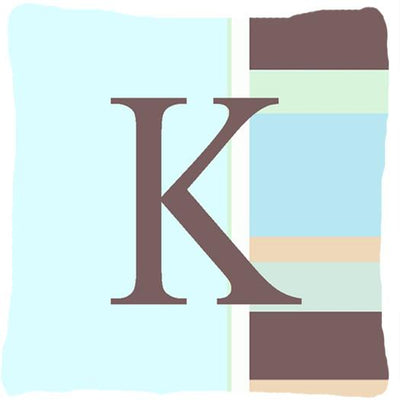 Buy this Letter K Initial Monogram - Blue Stripes Decorative   Canvas Fabric Pillow