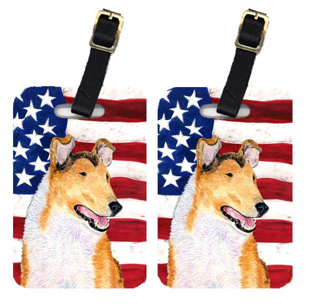 Buy this Pair of USA American Flag with Collie Smooth Luggage Tags SS4226BT