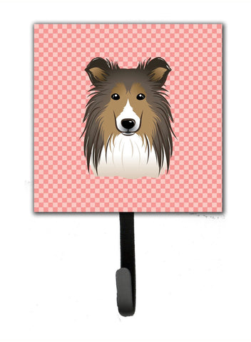 Buy this Checkerboard Pink Sheltie Leash or Key Holder BB1242SH4