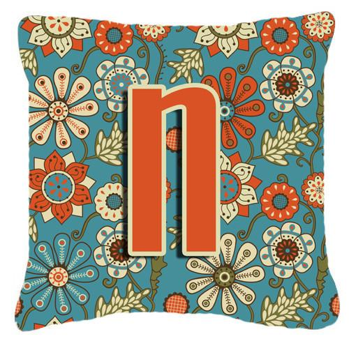 Letter N Flowers Retro Blue Canvas Fabric Decorative Pillow CJ2012-NPW1414 by Caroline's Treasures