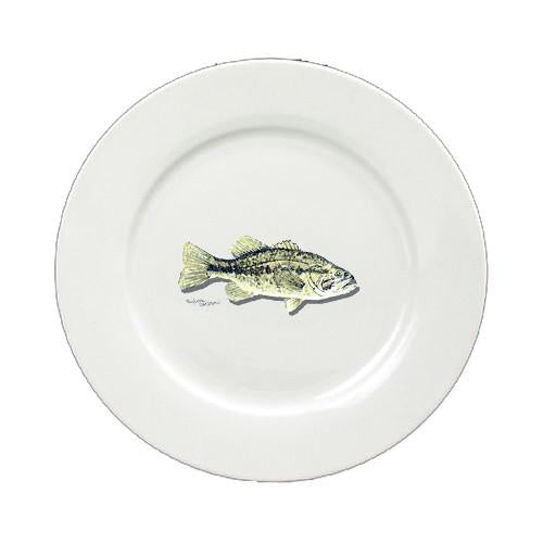 Bass Small Mouth Round Ceramic White Salad Plate 8493-DPW by Caroline's Treasures