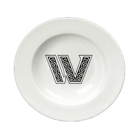 Buy this Letter W Initial Monogram Celtic Round Ceramic White Soup Bowl CJ1059-W-SBW-825