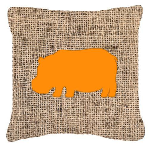 Hippopotamus Burlap and Orange   Canvas Fabric Decorative Pillow BB1130 - the-store.com